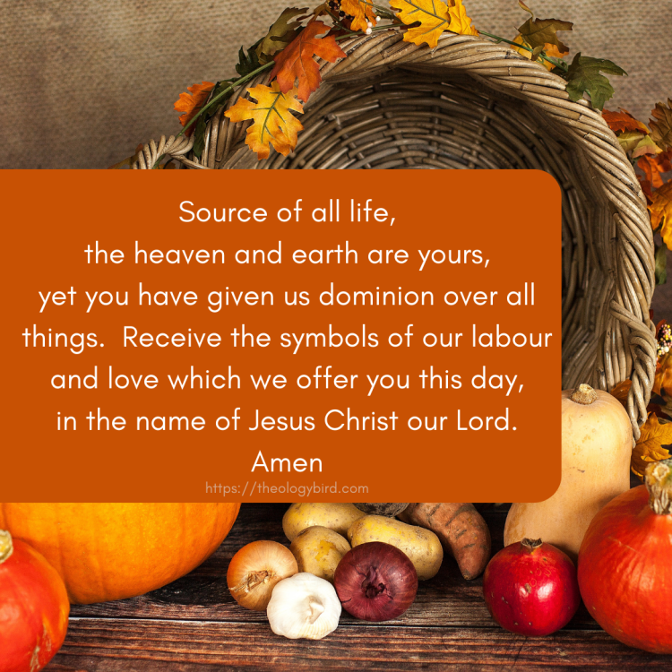 the prayer: Source of all life, the heaven and earth are yours, yet you have given us dominion over all things. Receive the symbols of our labour and love which we offer you this day, in the name of Jesus Christ our Lord. Amen appears in front of the picture of a cornucopia